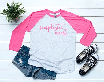 Next Level 6051 Pink Baseball Tee Mockup T Shirt Mock Up Flat Lay Blank