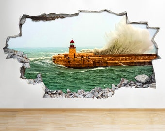 M770 Lighthouse Sea Waves Nursery Smashed Wall Decal 3D Art Stickers Vinyl Room