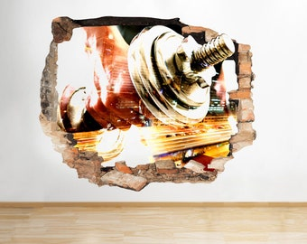 Q844 Weights Red Gym Cool Fitness Smashed Wall Decal 3D Art Stickers Vinyl Room