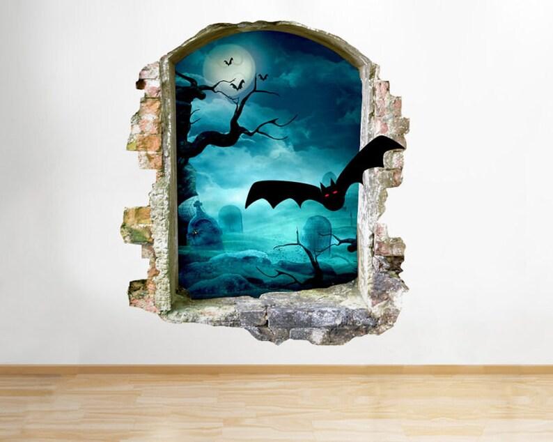 Q879 Graveyard Bats Horror Bedroom Window Wall Decal 3D Art Stickers Vinyl Room