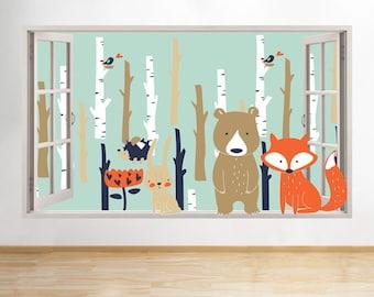 G565 Woodland Bear Trees Fox Cute Window Wall Decal 3D Art Stickers Vinyl Room