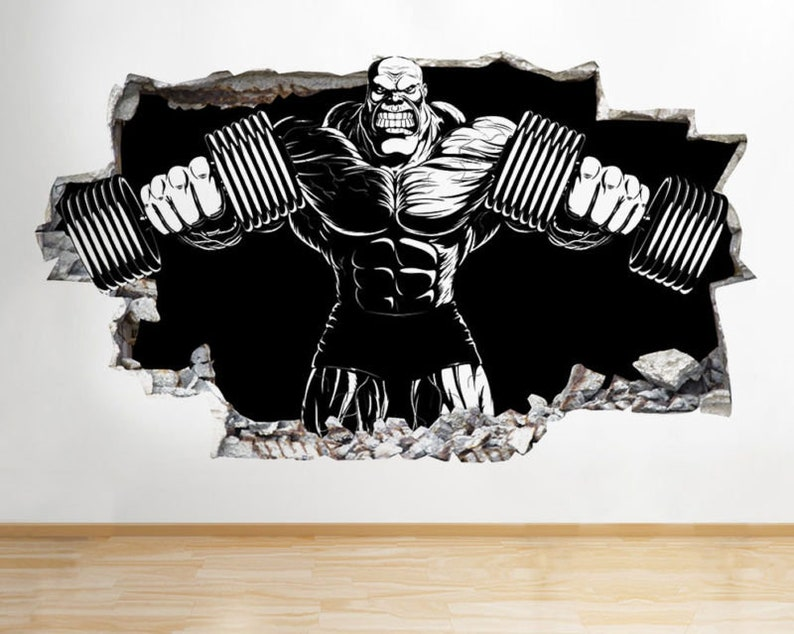 c121 bodybuilder gym exercise cool smashed wall decal 3d art | etsy