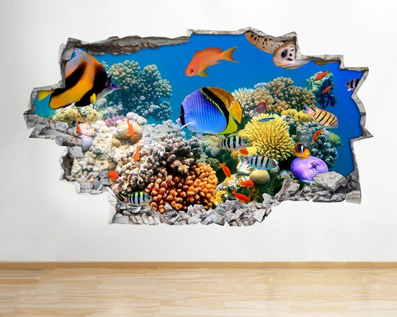 a039 aquarium fish ocean sea coral wall decal poster 3d art | etsy