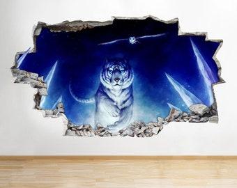 D736 White Tiger Owl Run Night Smashed Wall Decal 3D Art Stickers Vinyl Room[Medium (56x32)]