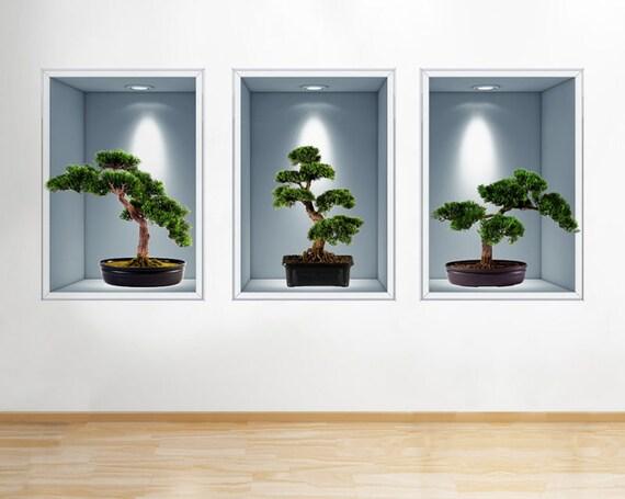 R814 Bonsai Baum Natur Wohnzimmer Fenster Wand Aufkleber 3D | Etsy