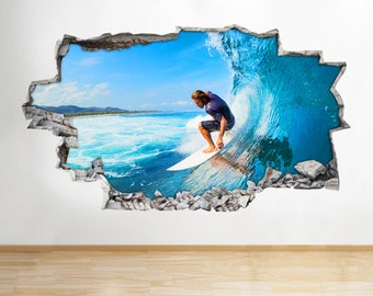 H207 Surfing Kids Cool Fun Smashed Wall Decal Poster 3D Art Stickers Vinyl Room