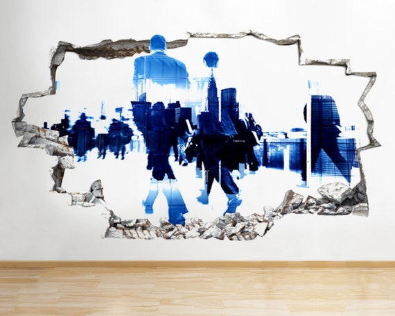 q917 buiness office work men job smashed wall decal 3d art   etsy