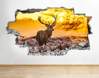 B053 Deer Stag Reindeer Autumn Scene Trees Wall Decal Poster 3D Art Stickers