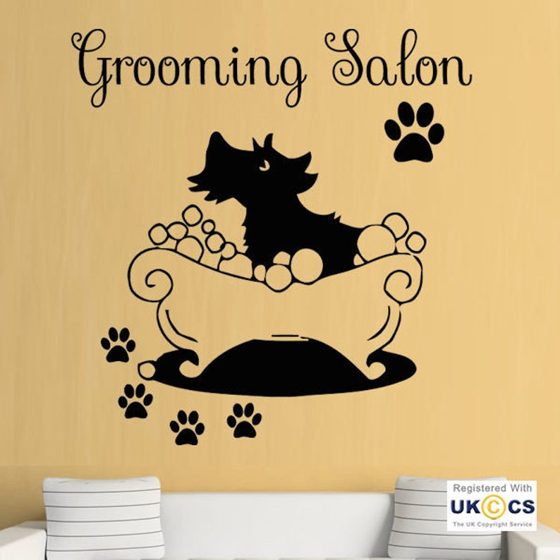 2ea77ae68 Dog Cat Grooming Shop Salon Pet Paws Wall Art Stickers Decals
