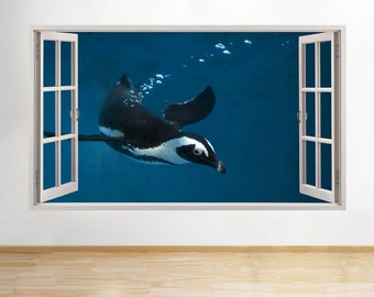 H752 Penguin Swimming Ocean Blue Window Wall Decal 3D Art Stickers Vinyl Room