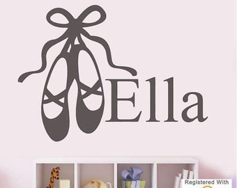 Ballet Shoes Girls Bedroom Name Personalise Wall Art Stickers Decal Vinyl Room[Large,White]