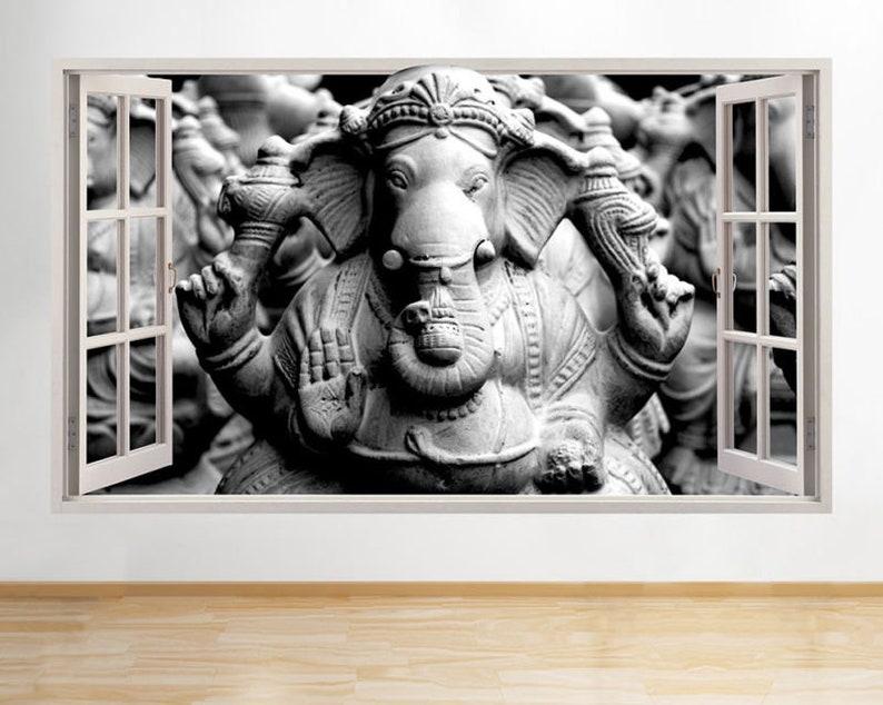 d625 ganesh elephant god living window wall decal 3d art | etsy