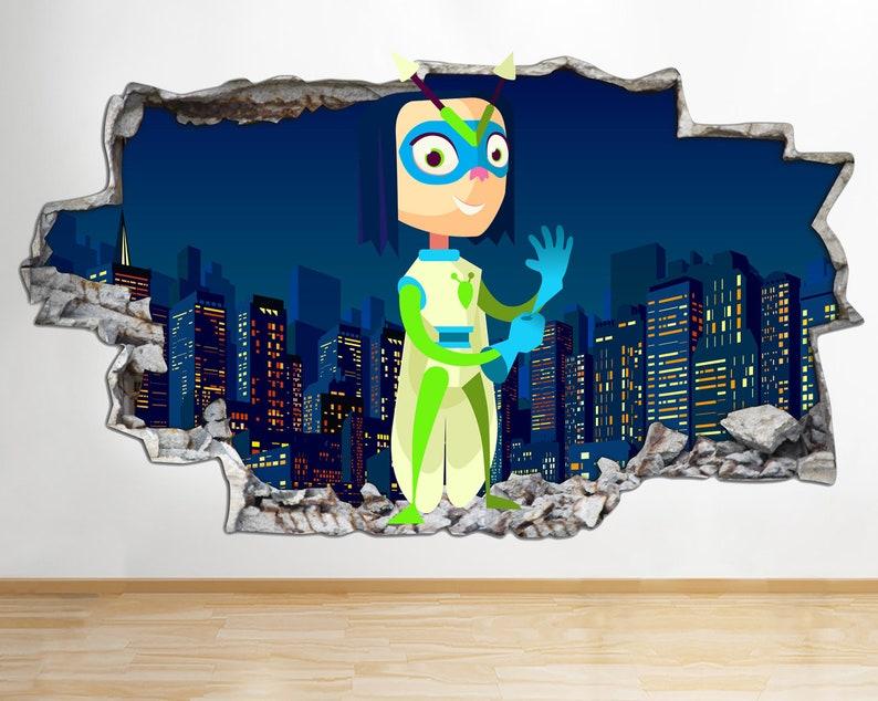 AA368 Kids Super Heroes Fun Cool Smashed Wall Decal 3D Art Stickers Vinyl Room Kids Bedroom Baby Nursery Poster Livingroom Boys Girls Mural