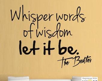 The Beatles Whisper Words Wisom Music Studio Wall Art Stickers Decal Vinyl Room[Medium,Black]