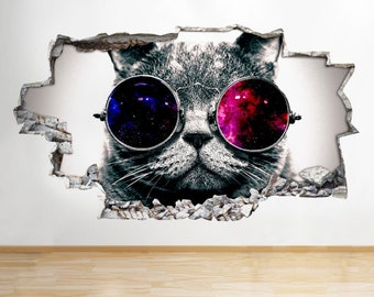 R789 Cool Cat Sunglasses Galaxy Smashed Wall Decal 3D Art Stickers Vinyl Room[Large (92x52)]
