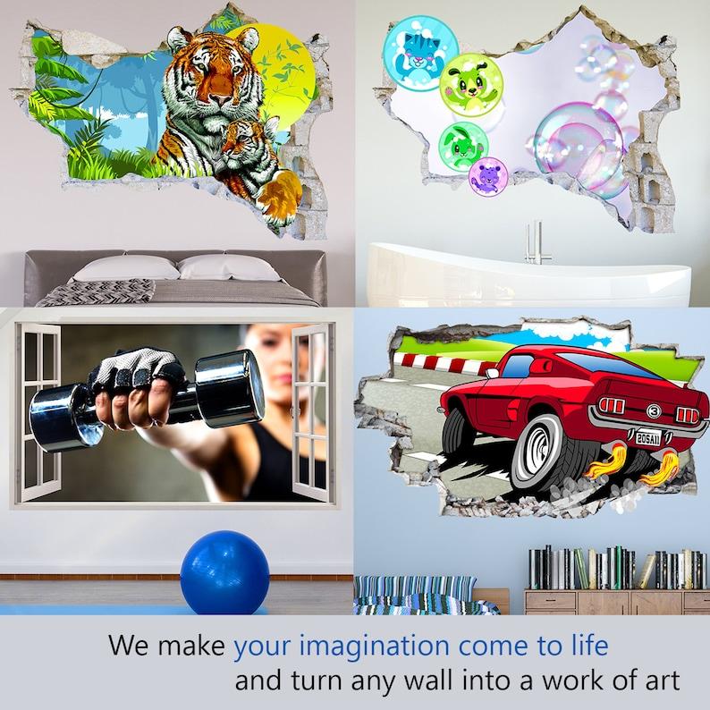 Q725 Football Sport Kids Bedroom Smashed Wall Decal 3D Art Stickers Vinyl Room