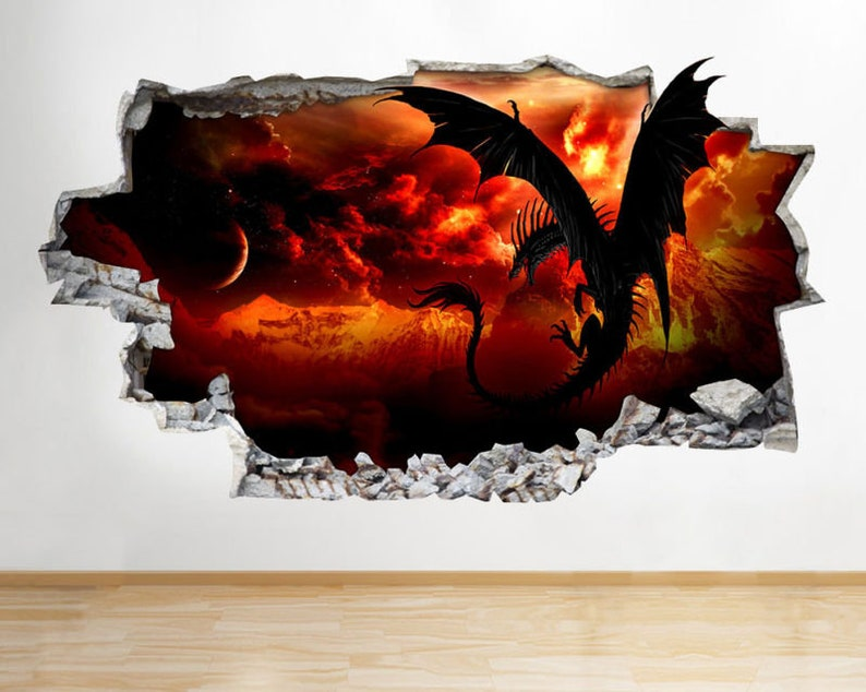 c149 dragon wings fire lava cool smashed wall decal 3d art | etsy