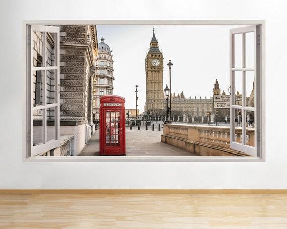 h828 red phone box london big ben window wall decal 3d art | etsy