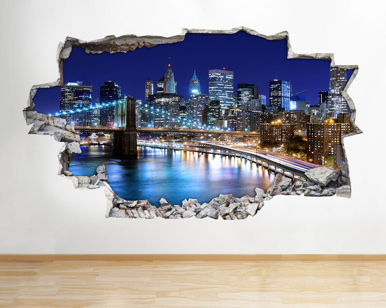Wall Stickers New York City NYC City Landscape Night Skyline Decal 3D Art