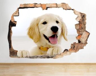F308 Golden Retriever Puppy Cute Smashed Wall Decal 3D Art Stickers Vinyl Room