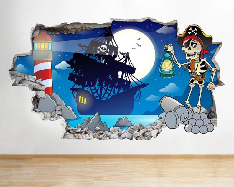Autocollants Muraux Pirate Squelette navire Garçons Chambre Filles Garçons Living Room G901