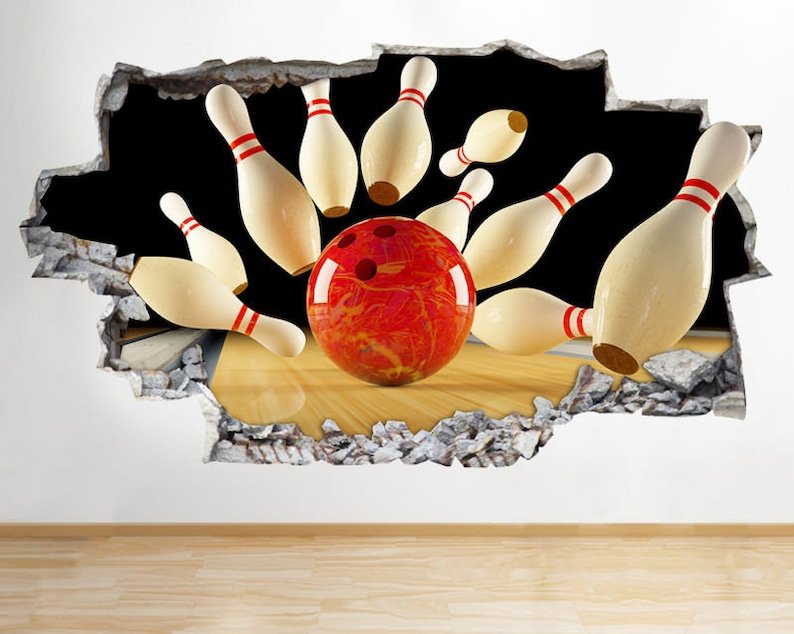 Wall Stickers Bowling Ball Pins Sport Cool Games Art Decals Vinyl Home Room Deco