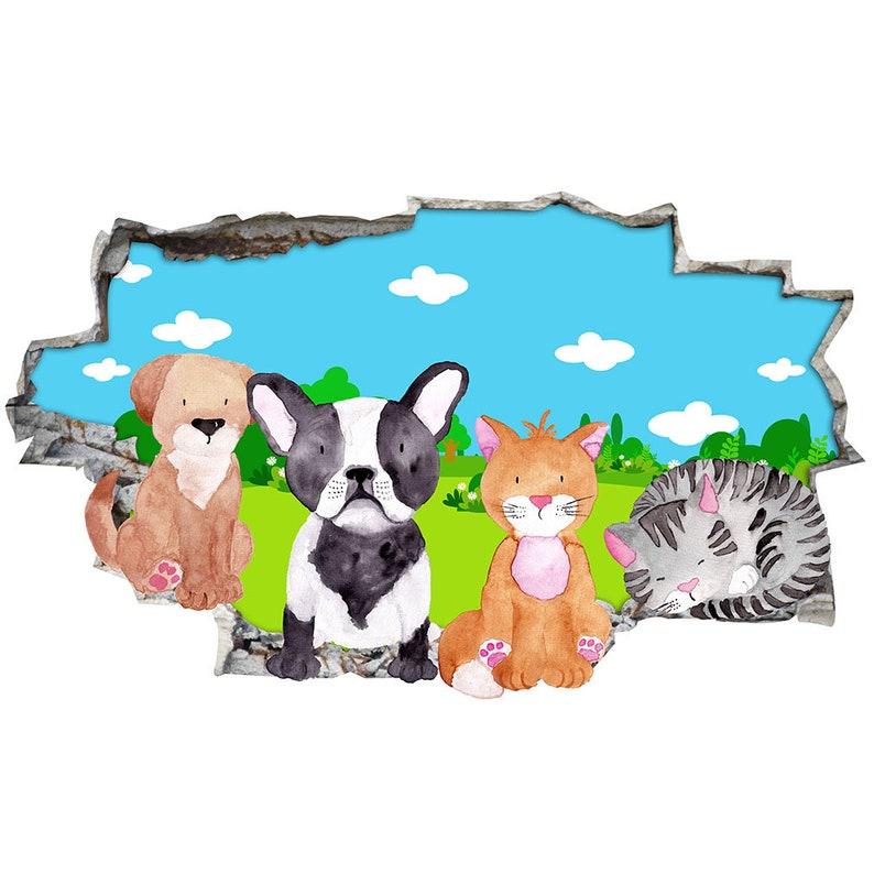 J090 Pets Animals Garden Dog Cat Wall Stickers Bedroom Girls Boys Kids Room