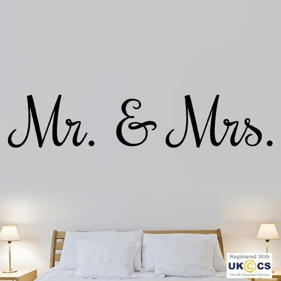 Mr Mme Amour Mariage Chambre Citation Art Mural Stickers Autocollants Vinyle Decor Chambre Hom Xl Noir