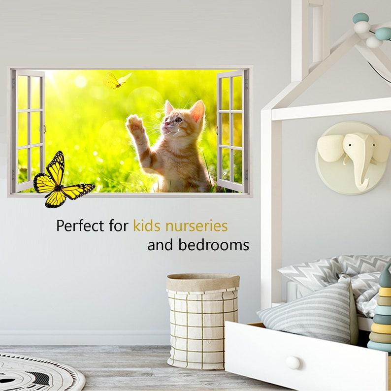 Q279w chat noir yeux animal cool smashed applique murale 3D art stickers vinyl chambre