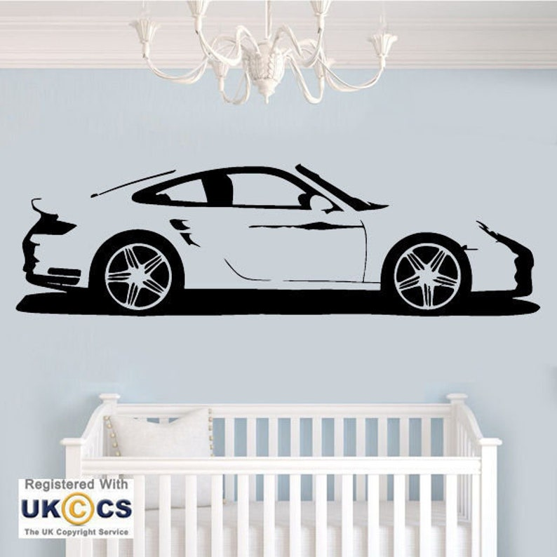 Porsche Car Racing Boys Wall Art Stickers Decals Vinyl Decor Home Quote  Room[XL,Black]