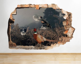 F841 Collie Dog Country Pheasants Smashed Wall Decal 3D Art Stickers Vinyl Room