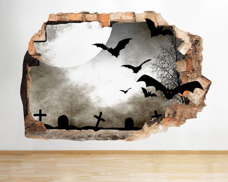 Q887 Bats Graveyard Night Horror Smashed Wall Decal 3D Art Stickers Vinyl Room