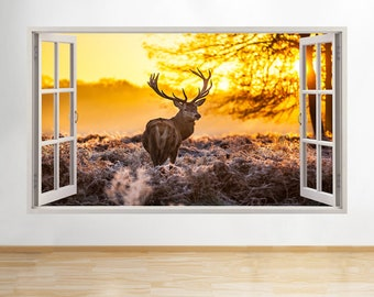 B053 Deer Stag Reindeer Autumn Scene Trees Wall Decal Poster 3D Art Stickers Vin