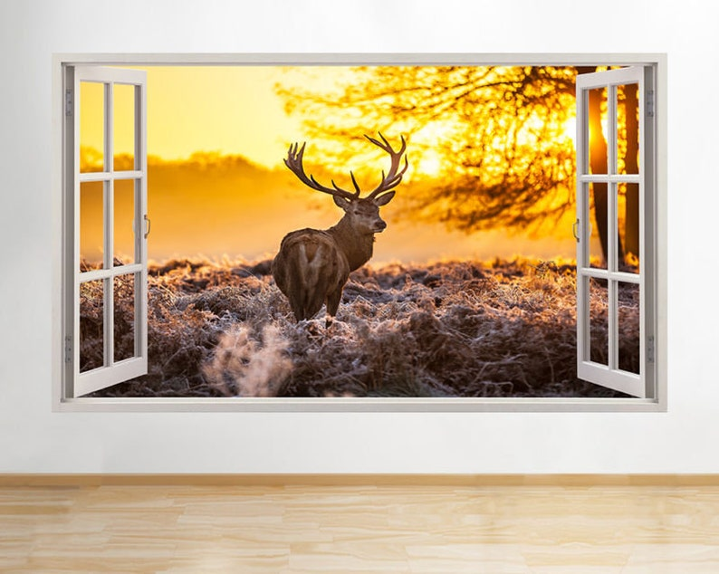 Wall Stickers Deer Stag Reindeer Autumn Scene Trees Decal Poster 3D Art B053