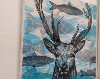 Blue surreal deer wall art