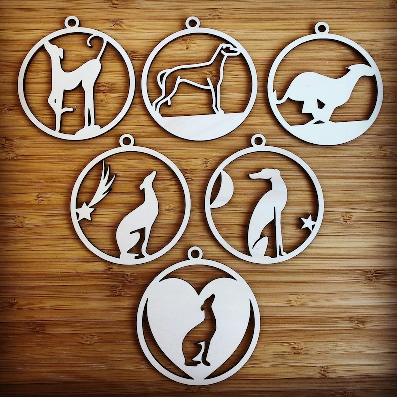 Christmas wooden ornaments Greyhound ornaments 12 wooden ornaments Greyhound decor Christmas tree decoration Greyhound wooden ornaments
