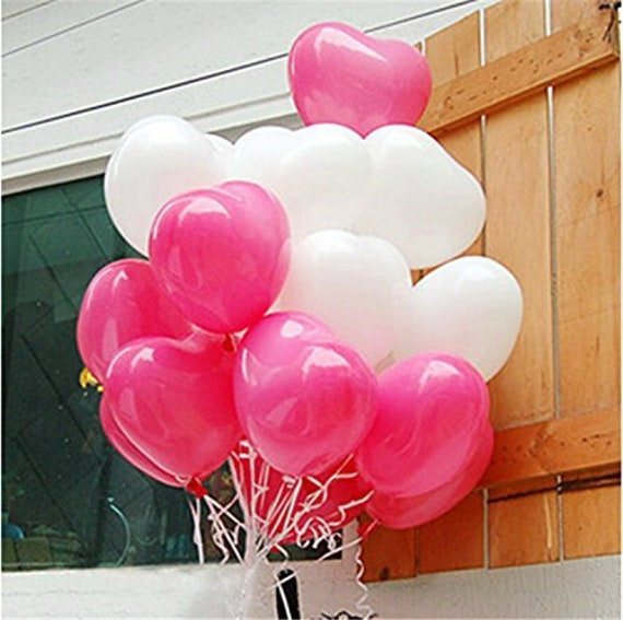 """50 Red and White 12/"""" Metallic Helium Latex Balloons for England and Euro 2012"""