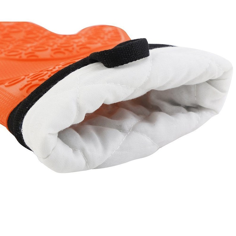 Orange Pair of Silicone Oven Gloves Mitts With a Secure-Grip Design Kitchenware Kitchen Mitts Kitchen Gloves Orange Pot Holders