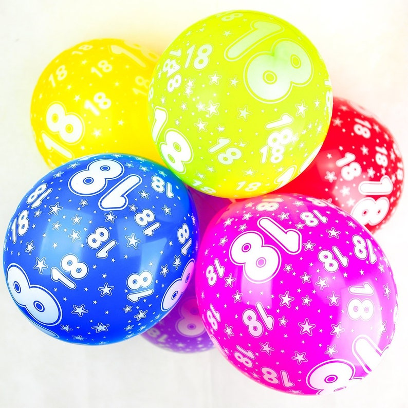 Number 18 Balloons 12 Inch Latex Quality Assorted