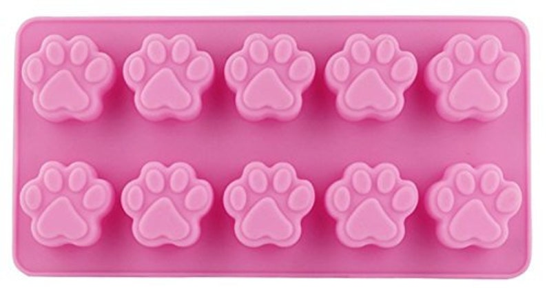 Dog Paw Cavity Mould Paw Print Cavity Tray Pink Non Stick Silicone Cooking Tray Party Baking Mold Home Cooking Cute Dog Paw Molds 10 Slots