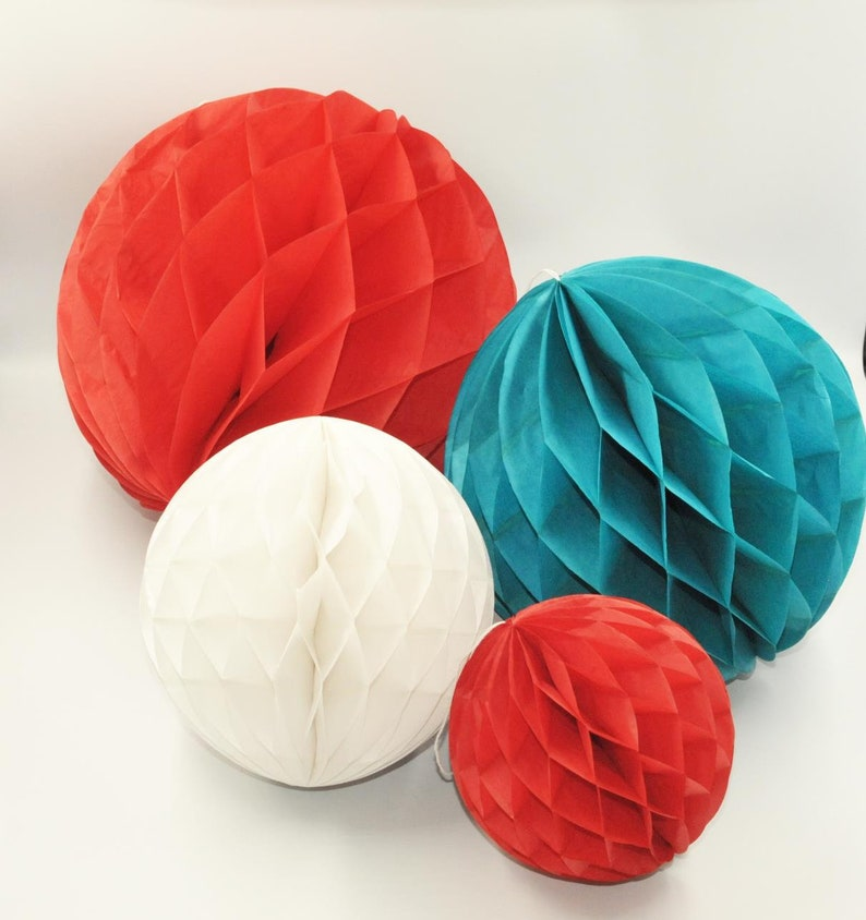 White and Blue Tissue Paper Honeycomb Balls Birthday Wall Hangings Party Decorations DIY Decor America USA 12x Red Hanging Ball