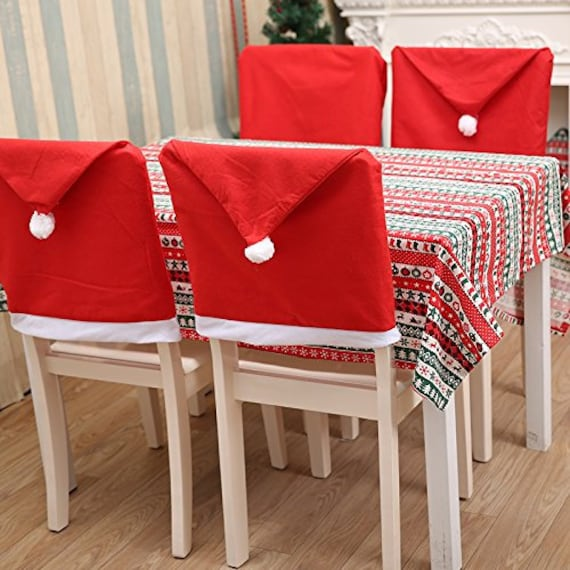 Terrific Santa Claus Hat Chair Covers Red Festive Christmas Hat Dining Seat Covers Cute Seat Decorations Dining Decor Christmas Home Decor 4 Pack Machost Co Dining Chair Design Ideas Machostcouk