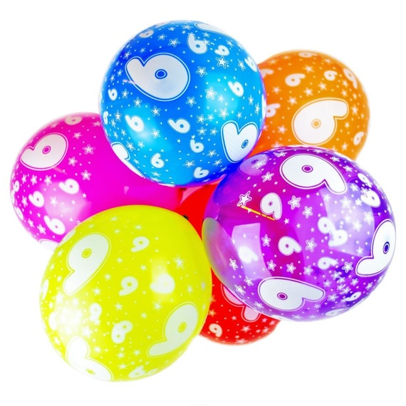 Number 6 Balloons 12 Inch Latex Quality Assorted