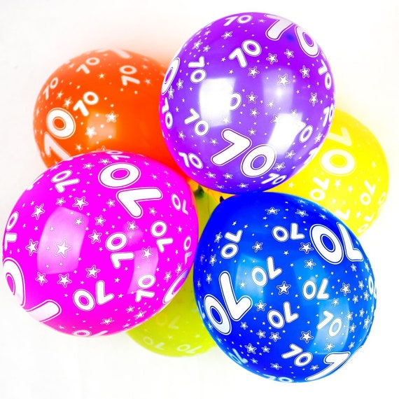 12 Inch Latex Balloons Quality Assorted Colour Happy 70th Birthday Stars Decoration House Party Decor 10 Pack