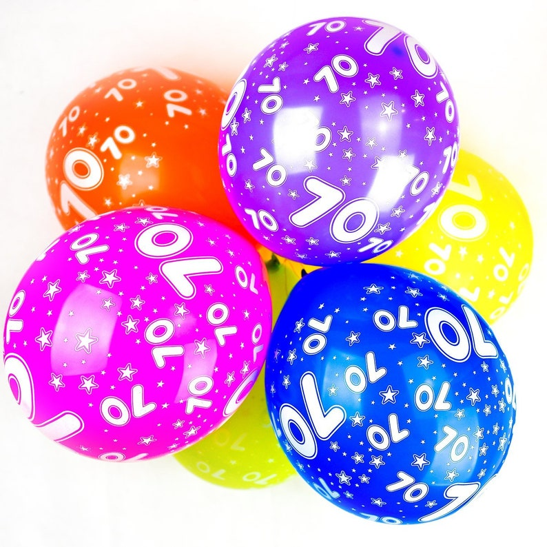 Number 70 Balloons 12 Latex Assorted Colour