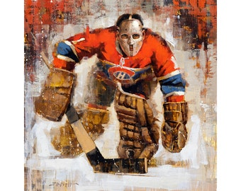 Jacques Plante Montreal Canadiens Poster or Metal Print from Original Painting - Hockey Wall Art Decor - NHL Goalie - Gift - Habs - Unframed