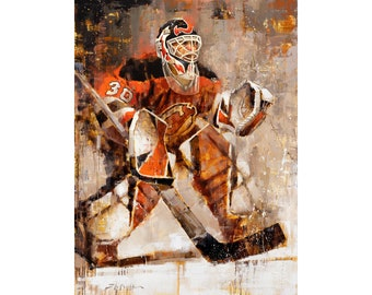 Martin Brodeur New Jersey Devils Poster or Metal Print from  Original Painting - Hockey Wall Art Decor - NHL Goalie - Gift - Unframed