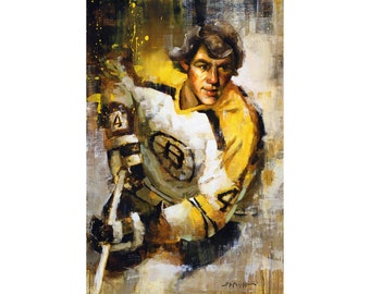 Boston Bruins Poster or Metal Print from the Original Painting - Hockey Wall Art Decor - Gift - Unframed