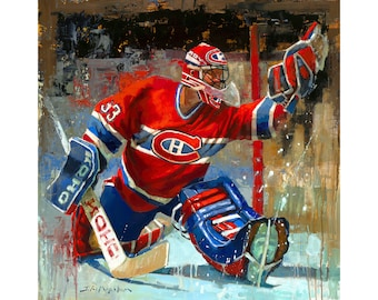 Montreal Canadiens Poster or Metal Print from Original Painting - Hockey Wall Art Decor - NHL Goalie - Gift - The Habs