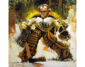 Gerry Cheevers Poster or Metal Print from Original Painting - Boston Bruins Wall Art Decor - Hockey Art - Goalie - Gift - Unframed